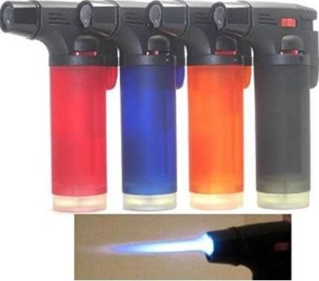 Pack of 4 Single Jet Flame Torch Lighter Windproof Refillable Cigarette Lighter (Jumbo)