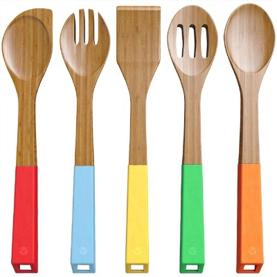 Vremi 5 Piece Bamboo Spoons Cooking Utensils - Wooden Spoons and Spatula Utensil Set
