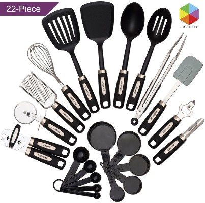 Cooking Utensils Set 22-piece - Home Kitchen Tools - Stainless Steel & Nylon Gadgets