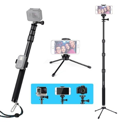 HSU Handheld Monopod Extension Pole With Phone Clip Holder,Tripod Stand