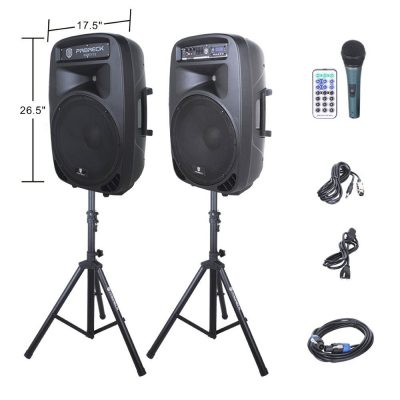 PRORECK PARTY 15 Portable 15-Inch Woofer 2000 Watt 2-Way Powered PA Speaker System Combo Set with Bluetooth/USB/SD Card Reader/ FM Radio/Remote Control/LED Light