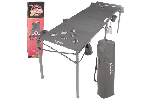 Portable Beer Pong Table- Collapsible Regulation Size Beirut Table w Cup Holders