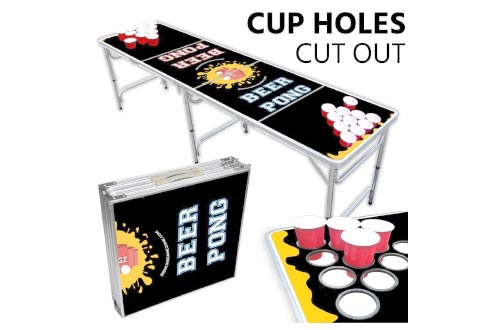 Beer Pong Table With Cup Holes – 8 Foot Easy Fold up w/ Adjustable Height