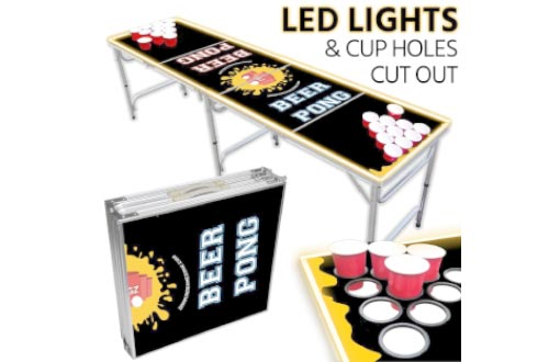 Portable LED Beer Pong Table – 8ft & Easy Folding w/ Adjustable Height