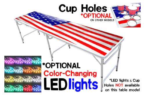 8-Foot Beer Pong Table w/ OPTIONAL Cup Holes & LED Color-Changing Glow Lights