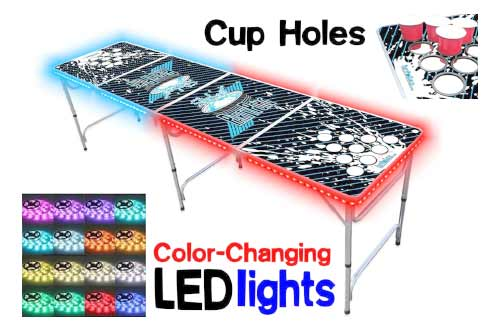 8-Foot Beer Pong Table w/ OPTIONAL Cup Holes, LED Glow Lights
