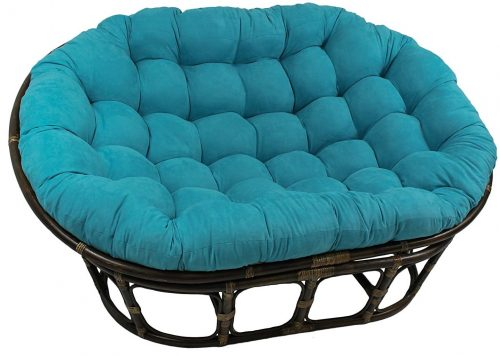 Blazing Needles Solid Microsuede Double Papasan Chair Cushion
