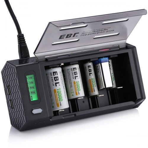 EBL LCD Smart Battery Charger for C/D/9V/AA/AAA Rechargeable Battery
