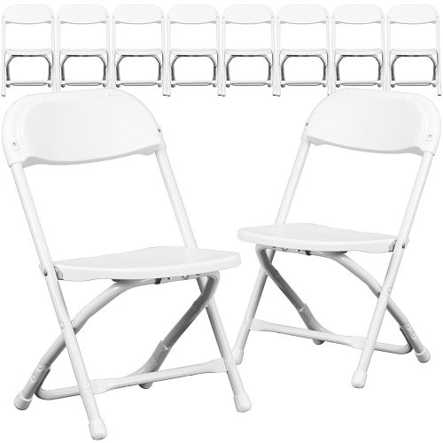 Flash Furniture 10 Pk. Kids White Plastic Folding Chair
