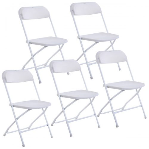 Giantex Set of 5 Plastic Folding Chairs Wedding Party Event Chair Commercial