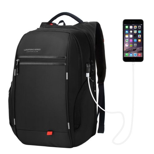 LUXUR 37L Laptop Backpack USB Charging Port Nylon Waterproof