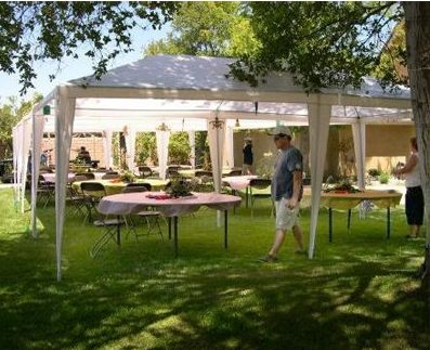 Palm Springs 10 X 20 White Party Canopies with Sidewalls