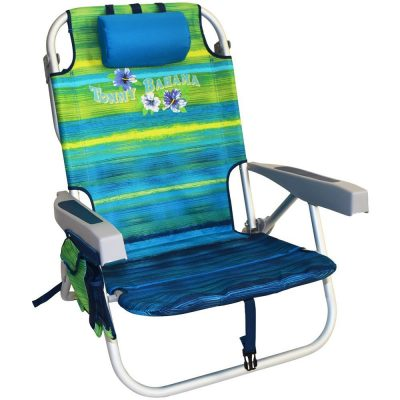 Tommy Bahama Backpack Cooler Chair with Storage Pouch and Towel Bar-Beach Chairs