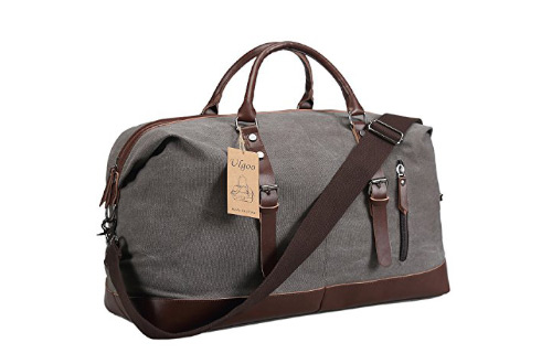 Ulgoo Travel Duffel Bag Canvas Bag PU Leather