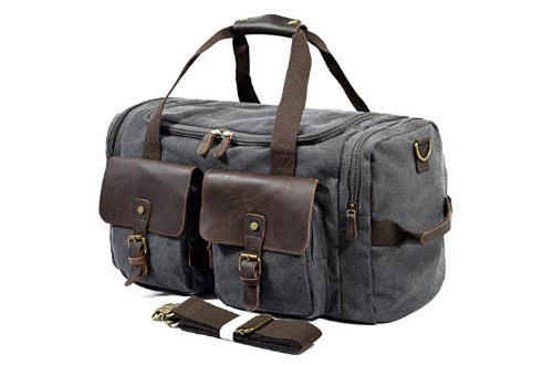 SUVOM Leather Overnight Duffle Bag Canvas Travel