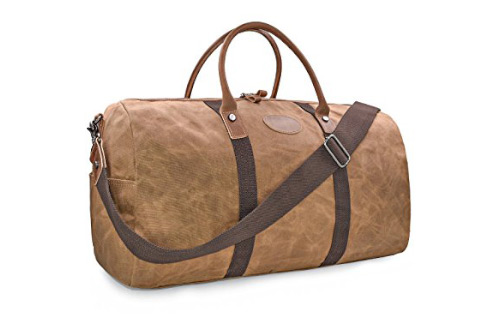 Travel Duffel Bag Waterproof Canvas Overnight Bag Leather