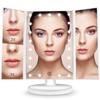 BESTOPE Makeup Vanity Mirror 3x:2x Magnification, Trifold Mirror with 21 Led Lights