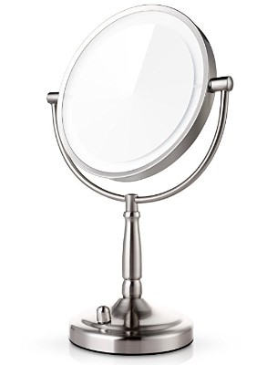 Miusco 7X Magnifying Lighted Makeup Mirror, 8 Inch Two Sided White Daylight LED Shadow
