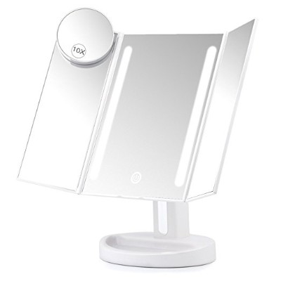 Herwiss Lighted Vanity Makeup Mirror with 10x Magnifying Soft Led Light Illuminated
