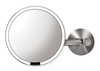 Simplehuman 8 inch Wall Mount Sensor Mirror, Lighted Makeup Mirror, Rechargeable 5x