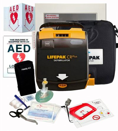 First Voice Physio Control CR-Plus AED Package Fully Automatic, Alarmed Cabinet 1463, Wall Sign, Two Window Sticker, AED Rescue Kit, Administrator Tool Kit and AEDSafetrack