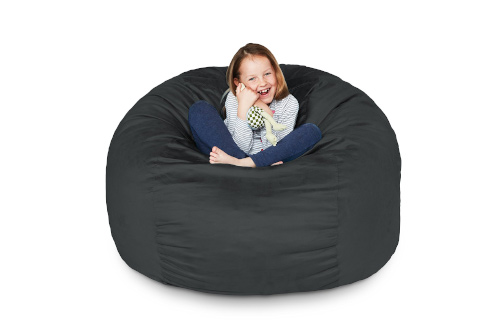 Lumaland Luxury 3-Foot Bean Bag Chair with Microsuede Cover Black