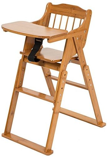 ELENKER Baby Wooden Folding High Chair