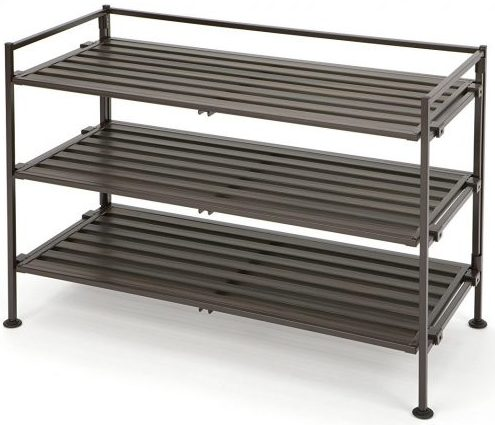 Seville Classics 3-Tier Resin Slat Utility Wooden Shoe Racks