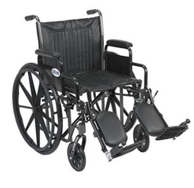 Drive Medical Silver Sport 2 Wheelchair with Various Arms Styles and Front Rigging Options, Black, 20""