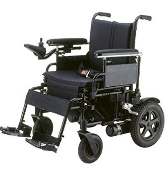Drive Medical Cirrus Plus Folding Power Wheelchair with Footrest and Batteries, Black, 18""
