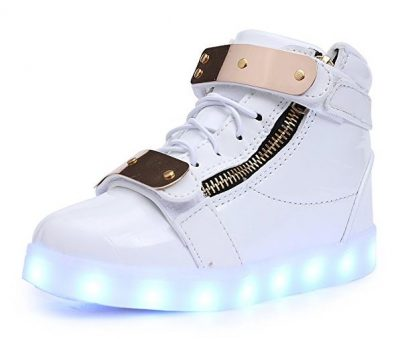 UBELLA Kids Boys Girls LED Shoes Buckle Strap High Top Flashing Light Up Sneakers