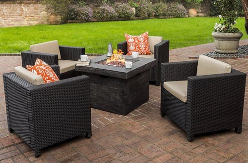 Venice Patio Furniture 5 Piece Outdoor Wicker Patio Chair Set with Propane Fire