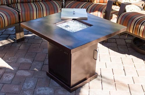 Belleze Gas Outdoor Fire Pit Glass Table