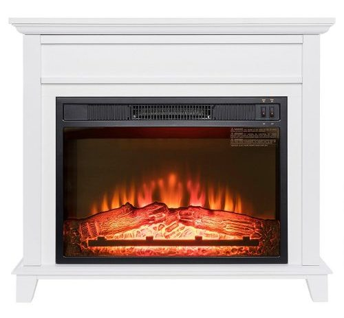 "Golden Vantage 32"" Freestanding White Wood Finish Electric Fireplace Stove Heater"