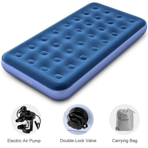 LANGRIA Air Mattress Plush Flocked Mid-Raise Air Bed-Camping Air Mattresses