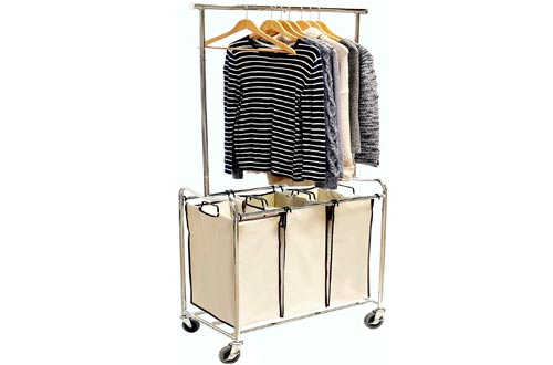 Laundry Sorter Cart with Hanging Bar