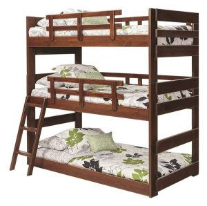 Twin-Triple-Bunk-Bed-Chocolate TRIPLE BUNK BEDS