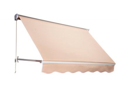 Outsunny Drop Arm Manual Retractable Window Awning, 6-Feet, Cream