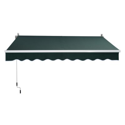 Outsunny Patio Manual Retractable Sun Shade Awning, 8-Feet x 7-Feet, Green