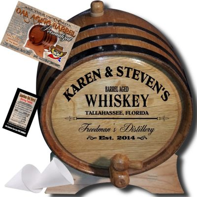 """MADE BY"" American Oak Barrel - Personalized American Oak Aging Barrel - 2014 Barrel Aged Series - Design 063: Barrel Aged Whiskey (2 Liter)"