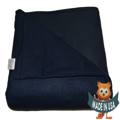 Adult Large Weighted Blanket by Sensory Goods 15lb Medium Pressure - Navy - Fleece/Flannel (42'' x 72'')