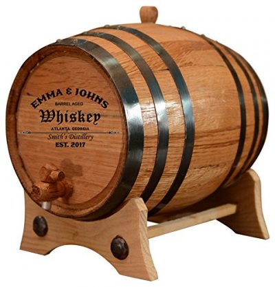 Personalized - Customized American White Oak Aging Barrel - Barrel Aged (2 Liters, Black Hoops)