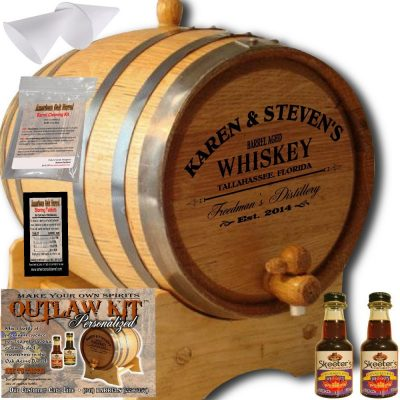 Personalized Outlaw Kit (Canadian Rye Whiskey) From American Oak Barrel - Design 063: Barrel Aged Whiskey (2 Liter)