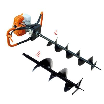 "FISTERS 2.2HP Gas Powered Post Hole Digger with 6"" & 10""Earth Auger 52CC Power Engine (6"" + 10"" Auger Bits US) (Engine Motor with 6""&10""Auger Bits)"