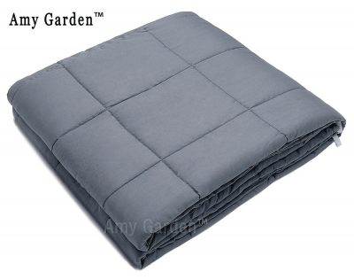 "Weighted Blanket for Anxiety, ADHD, Autism, OCD - Premium Weighted Blanket for Sensory Processing Disorder By Amy Garden (48""x72"", Grey Inner Weighted Layer,15lbs)"