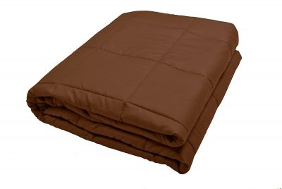 Premium Quality Soft Cotton Brown Sensory Weighted Blanket - 20 Lb 60Wx80L - For Women, Men, Adults, Children, Autism - Reduces Anxiety, Stress - Promotes Restful Sleep, Machine Wash and Dry