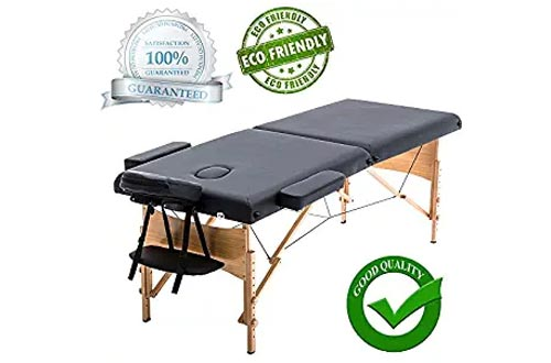 "New Black 84"" Portable Folding Massage Tables w/Free Carry Case T1 Chair Bed Spa Facial"