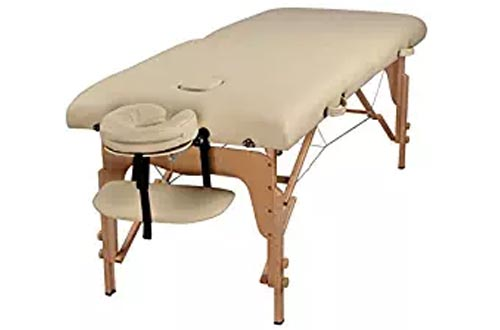 "Heaven Massage Extra Wide 3"" Portable Folding Massage Table Comfort Series w/Carry Case & Strap – CREAM"
