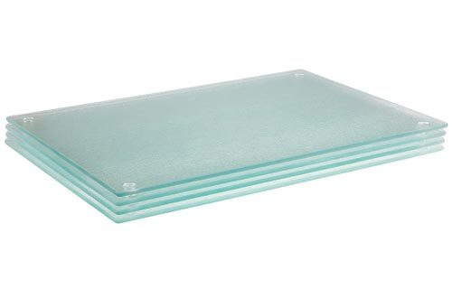 "Glass Cutting Board Set by Clever Chef | 4 Non Slip Cutting Boards 8"" x 12"" are Shatter-Resistant, Durable, Stain Resistant, Dishwasher Safe 