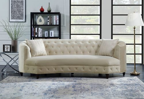 Iconic-Home-Cushions-Champagne-Traditional Tufted Sofa